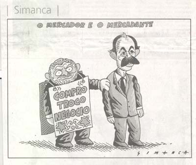 Charge de Simanca no jornal A Tarde