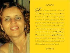 Márcia Rodrigues - missa de 1 ano