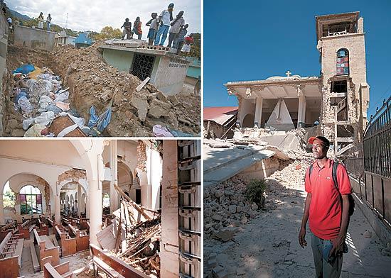 """Tragédia nas ruas e escombros da igreja Sacré Coeur (acima), onde estava Zilda Arns, e o seminarista Bourgouin Meltone: """"Ela era uma pessoa iluminada"""""""