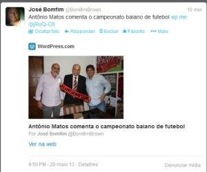 Twitter - Antônio Matos e o campeonato baiano