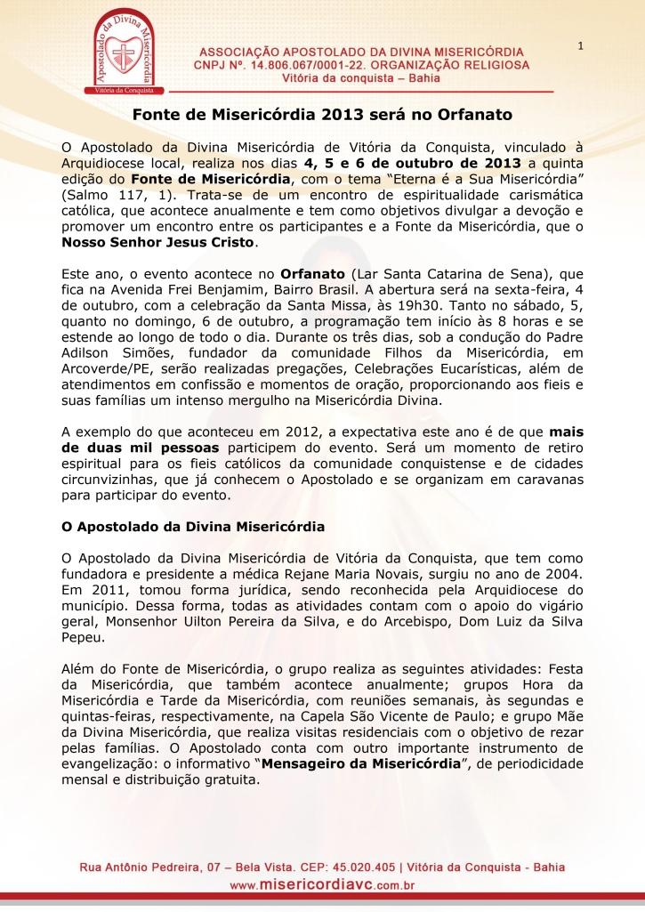 Fonte de Misericórdia - 2013 - Vitória da Conquista-1