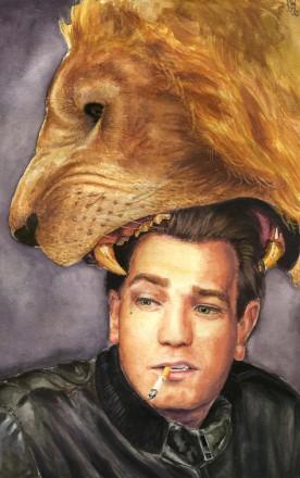 Um leão mordendo a cabeça do ator Ewan McGregor, na concepção da artista plástica katie8787