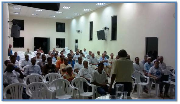 Palestra na igreja sobre câncer de Próstata, questões da Zona Rural, e homem do campo