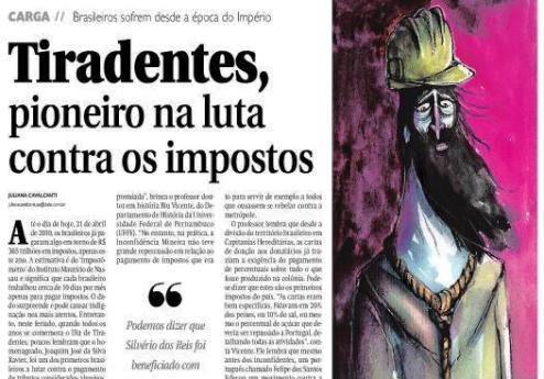 Tiradentes - pioneiro na luta contra os impostos