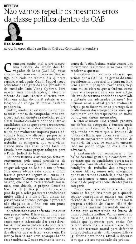 Artigo de Ilza Fontes - A TARDE - 17-09-2015 - página 3