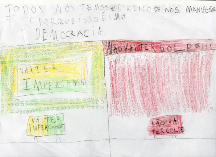 A democracia permite que todos possam se manifestar, por Bernardo Fialho, 10 anos de idade