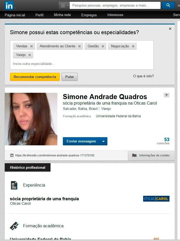 Simone no LinkedIn - IA